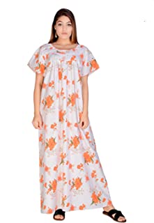 Apratim Cotton Woman Casual/Home Dress Nightwear/Sleepwear White-Orange Color Gown Size -Free Size
