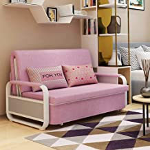 Double Folding Sofa Bed with 2 Pillows & Pull Out Bed, Lounger Sleeper Seat Chair, Protable Lazy Couch PU Leather Large Gu...