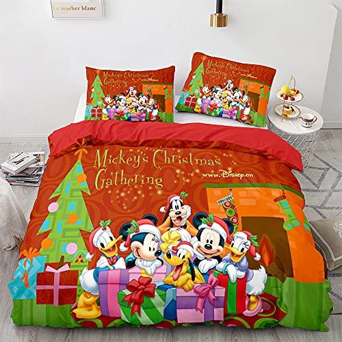 3 Piezas Funda Nórdica 220x240 para Niño Niña, 3D Disney-Mickey Mouse Funda Nórdica Cama 150 Infantil, Funda Edredon con Cremallera & 2 Funda De Almohada