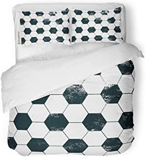 Emvency 3 Piece Duvet Cover Set Brushed Microfiber Fabric Breathable Soccer Football Abstract Repeated Grunge Urban Black and White Ball Hexagon Cup Bedding Set with 2 Pillow Covers Twin Size