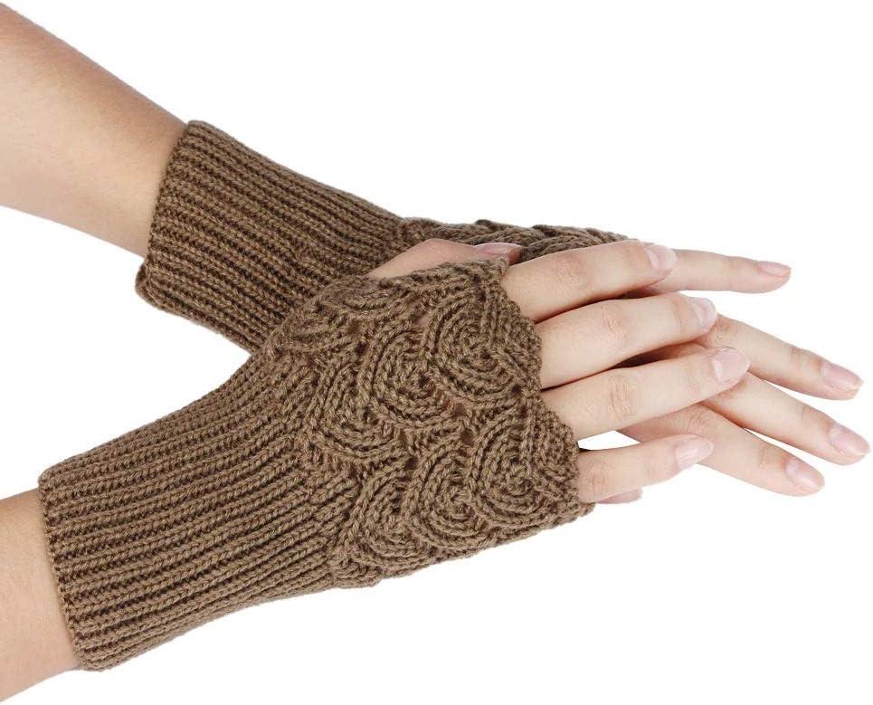 FASGION Women's Autumn Winter Gloves Warm Fingerless Sports Touch Screen Gloves Stretch Knit Mittens Half Fingerless Gloves 2019 (Color : Khaki, Gloves Size : One Size)