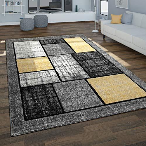 Paco Home Alfombra Salón, Motivo Geométrico Moderno En Tonos Grises Y Mostaza, tamaño:160x230 cm, Color:Gris 2