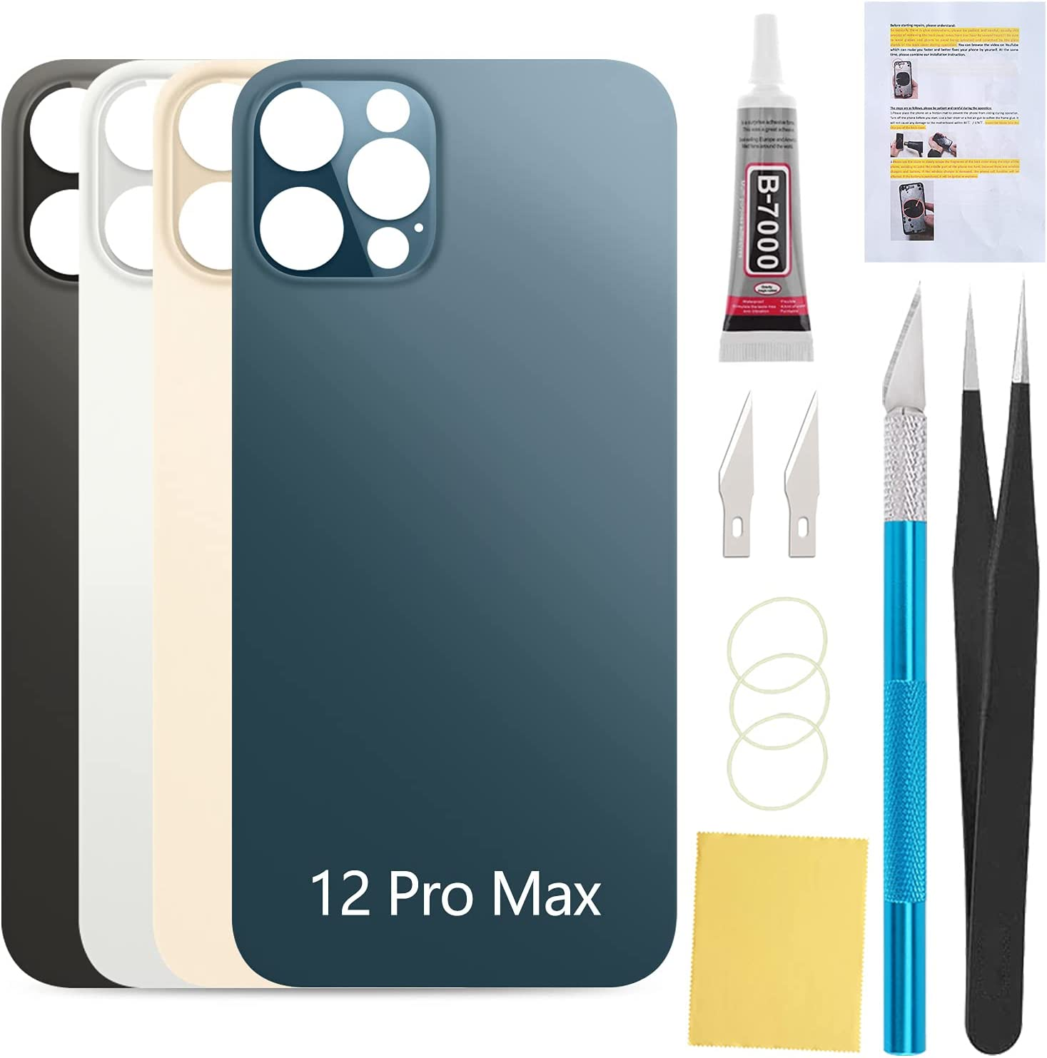 UooFide Back Cover Glass Replacement Compatible with iPhone 12 Pro Max 6.7 Inches All Carriers with Installation Manual + Repair Tool Kit (Pacific Blue)