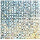 LMKJ Película de Vidrio Adhesiva estática,Mosaico de Vinilo,decoración de protección de privacidad sin Pegamento,película de Ventana Reutilizable Anti-UV A49 40x200cm