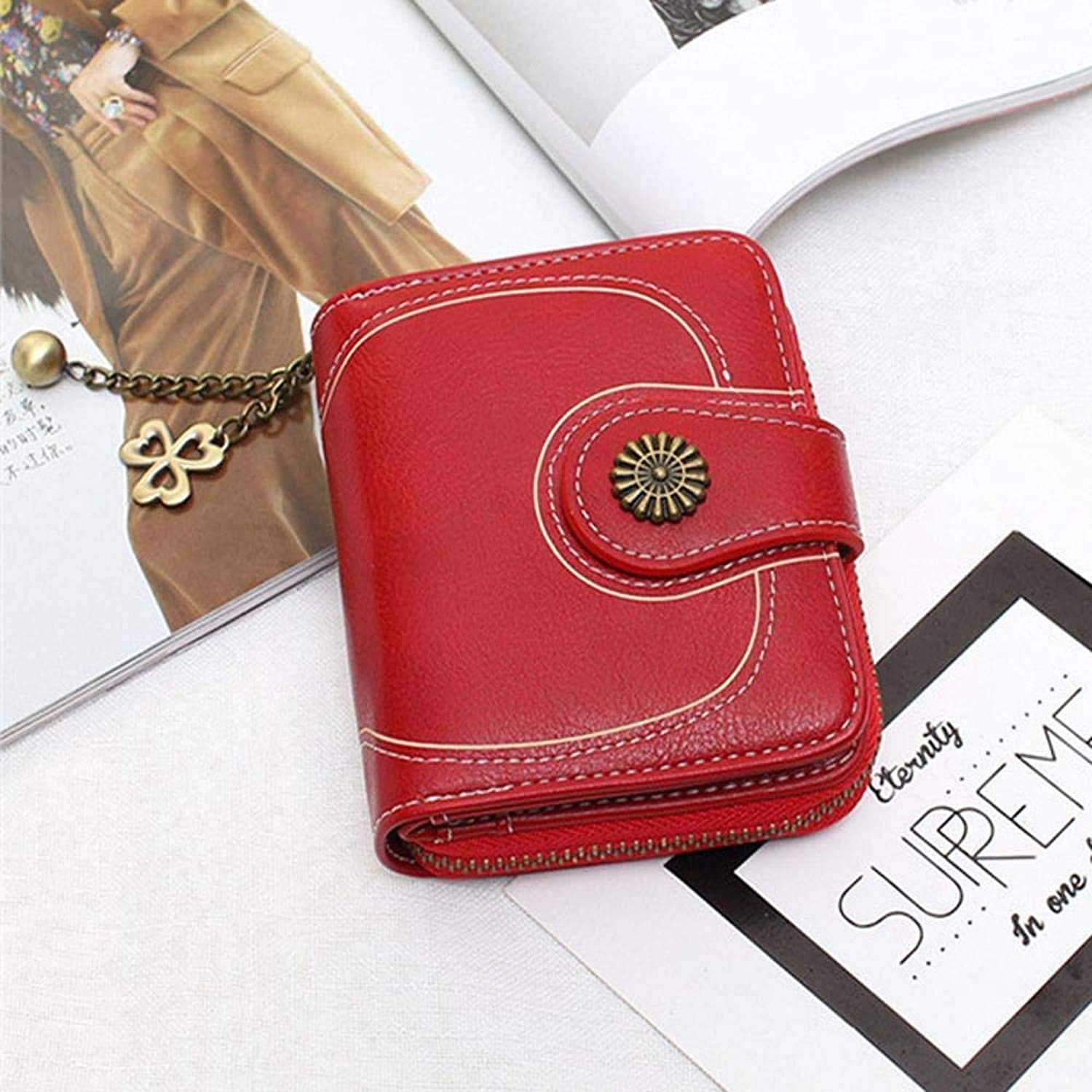 Girls Purse Women's Wallet,Oil Wax Leather Wallet Short 30 Percent Hand Bag Women's Zipper Coin Bag PU Leather (color   B)