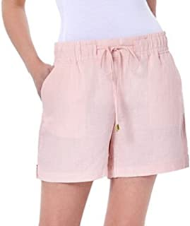 Womens Drawstring Waist Linen Shorts, Champagne Medium