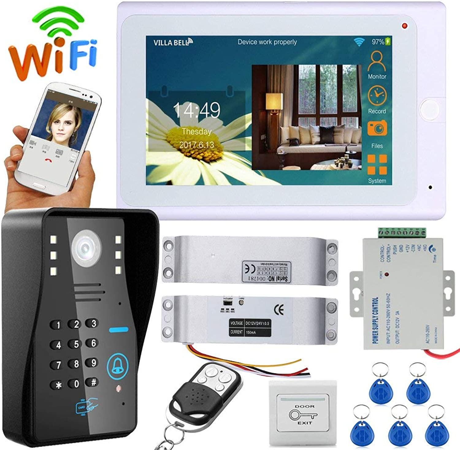 7  TFT TFT TFT Wired Wireless Wifi RFID Password Video Door Phone Doorbell Intercom System with Electric Drop Bolt Lock + IRCUT HD1000TVL Camera 4cf749