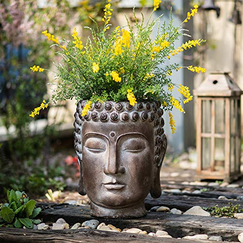 XMZDDZ Zen Cabeza De Buda Jardín Ornamento Al Aire Libre Plantador,Suculento Planta Pot Maceta Cabeza De Buda Estatua para Interior Al Aire Libre Jardín Casa Decorativos Grande