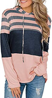 Choha Women's Casual Striped Color Block Long Sleeve Drawstring Pullover Hoodie Sweatshirts