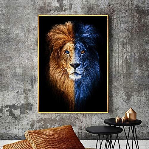 N / A Rahmenlose Malerei Wandkunstmalerei auf Leinwand, Wanddekoration, lebendige LöwendekorationZGQ6669 40x57cm