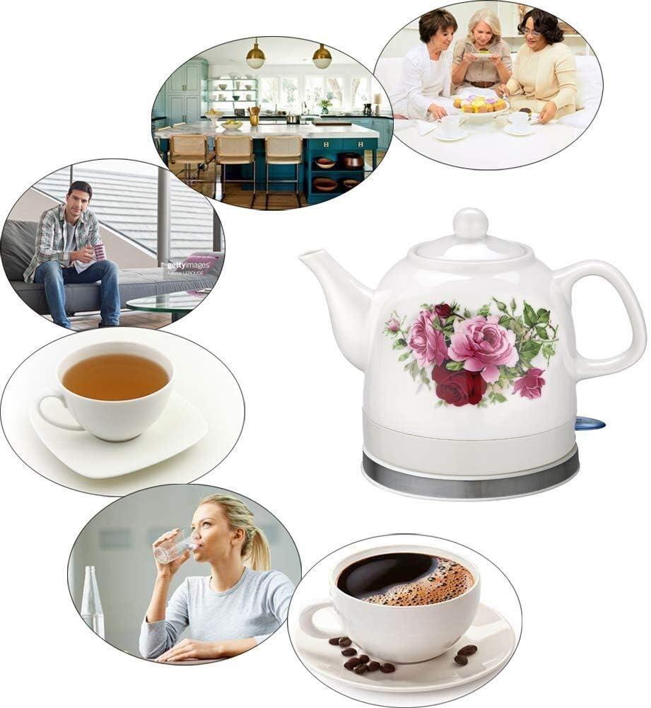 Wyxy Bouilloire électrique sans Fil en céramique théière - Cruche rétro de 1,2 L, Eau de 1200 W Rapide pour thé, café, Soupe Rapide (Couleur: A) C