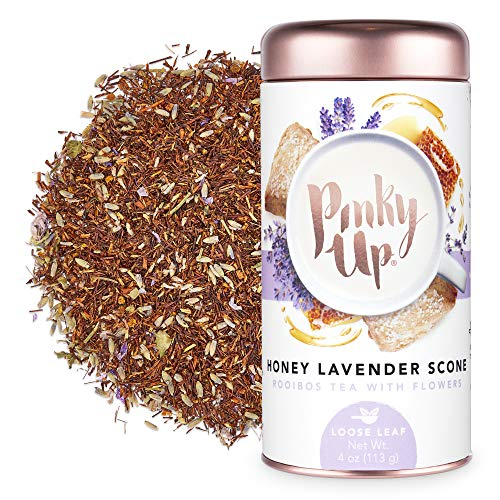 Pinky Up Honey Lavender Scone Loose Leaf Tea | Rooibos Tea, Caffeine Free, Naturally Calorie & Gluten Free | 4 Ounce Tin, 25 Servings