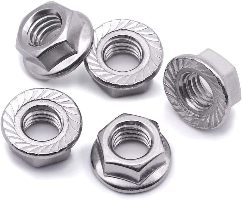 100 PCS by Eastlo Fastener Bright Finish,304 Stainless Steel 18-8 M3 Serrated Flange Hex Lock Nuts