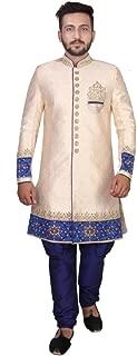 SG RAJASAHAB SGRAJASAHAB Men's Cream Sherwani Raw Silk Fabrics (ART-12270-CREAM-PT)