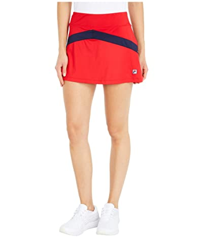 Fila Heritage Tennis Color-Blocked Skort (Chinese Red/Navy/Chinese Red) Women