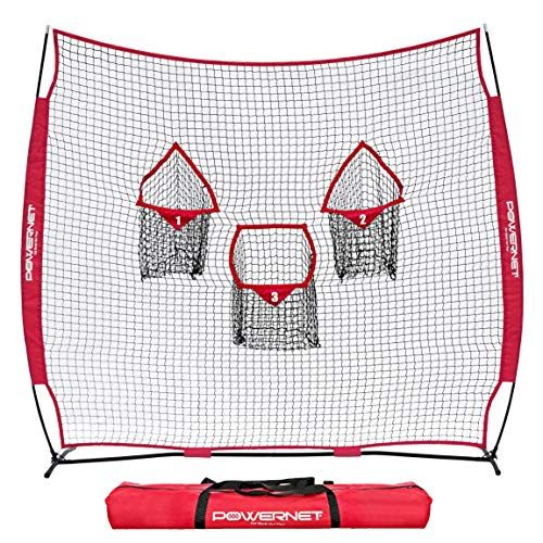 PowerNet 8x8 Ft Football 3 Pocket Net | Improve Throwing Passing Accuracy | Durable Training Equipment for Everyday Quarterback Use