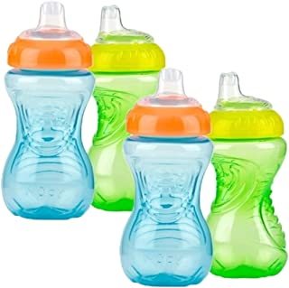 Nuby 4 Piece No Spill Easy Grip Trainer Cup 10 oz, Color Varies
