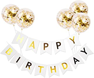 Happy Birthday Banner Gold Pink Blue Paper Garland Confetti Balloons Letter Banner Birthday Party Decorations Kids Party Favors white
