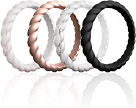 ROQ Silicone Wedding Rings for Women, Affordable Thin Braided Stackable Silicone Rubber Wedding Bands, 8, 4 & 2 Packs and Singles