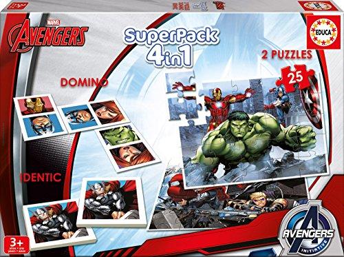 Los Vengadores - Superpack, 4 Juegos en 1: domin, Identic, 2 Puzzles (Educa Borrs 16692)