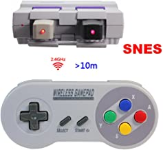 Wireless SNES Controller,2.4GHz Wireless Controller for Super NES Classic Edition&NES Classic Edition,Cordless Super NES Controller/Gamapad with Extra USB Adapter for PC,Raspberry PI (4 Colors Button)