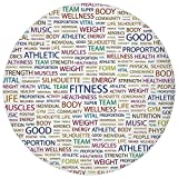 ZMYGH Round Rug Mat Carpet,Fitness,Gymnastics Psyhical Activity Lifestyle Concept Words Salubrity Wellness Health,Multicolor,Flannel Microfiber Non-Slip Soft Absorbent,for Kitchen Floor Bathroom