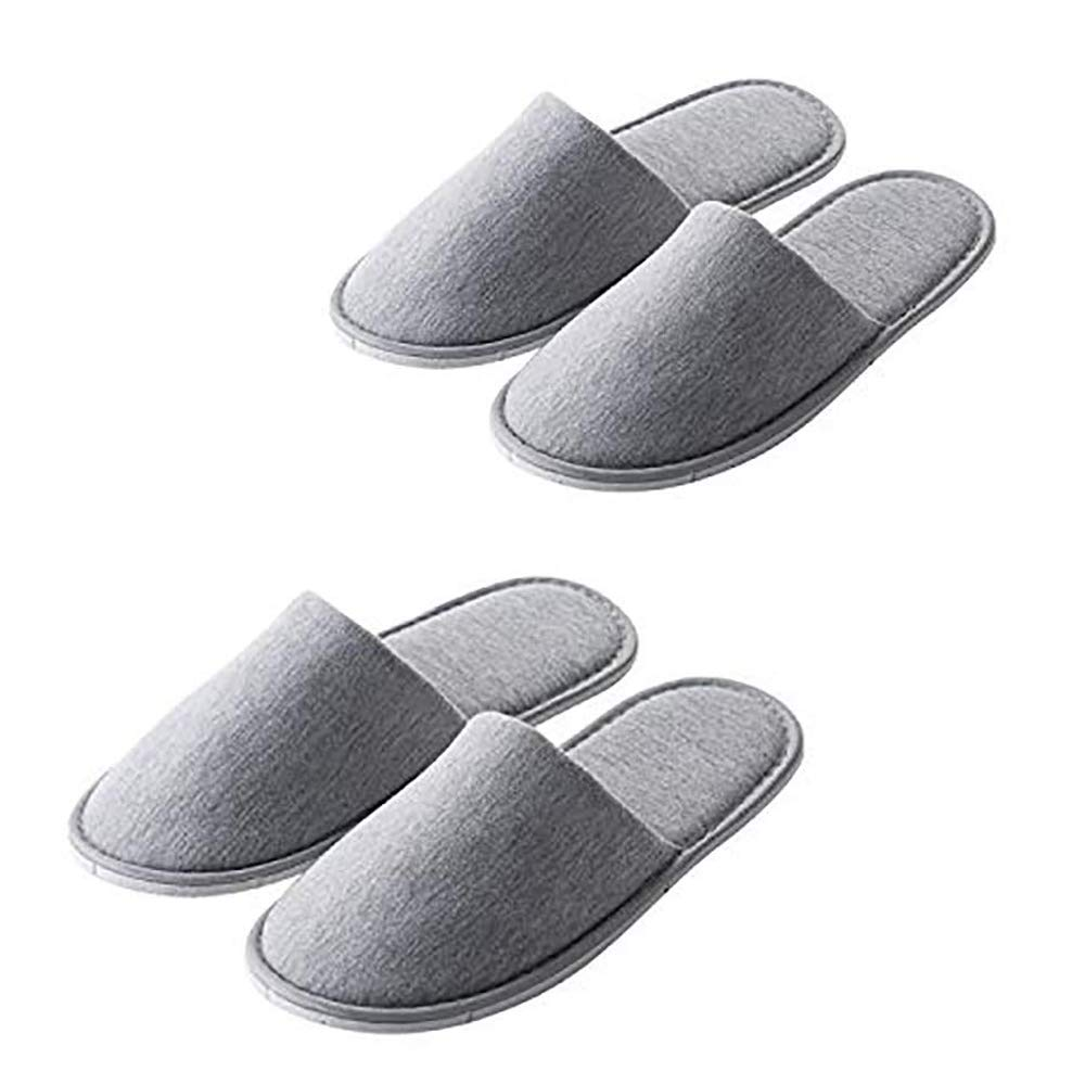 Rocutus 2 Pair Disposable Slippers,Disposable Slippers Bulk Guest Slippers,Travel Portable Polyester-cotton Slippers Home Interior Slippers Hotel Special Anti-skid Shoes Cotton Trailer