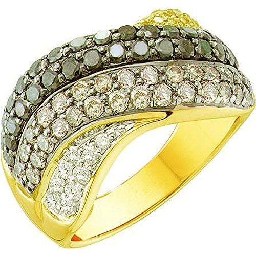 DazzlingRock Collection - Bañador de oro amarillo de 14 quilates para mujer, 1,75 quilates y oro blanco