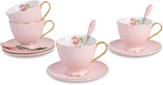 ARTVIGOR Demitasse Sets of 4 New Bone Solid Color Rimmed and Gold Plated Handles Cups with Saucers, 14.6 X 14 X 4.1 Inches, Pink