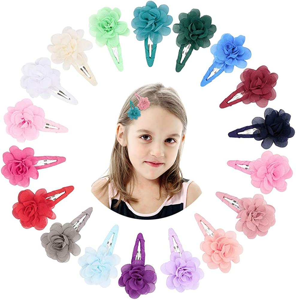 VCOSTORE 20 Pcs Colorful Chiffon Flower Hair Clips Barrettes Flower Hair Clips for Girls Infants Toddler Kids Hair Accessory