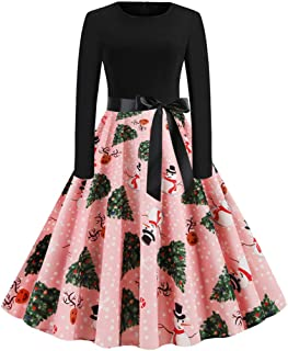 Christmas Vintage Dresses Winter Sale,FORUU Womens Floral Printed Sleeveless/Long Sleeve Casual Party Dresses Evening