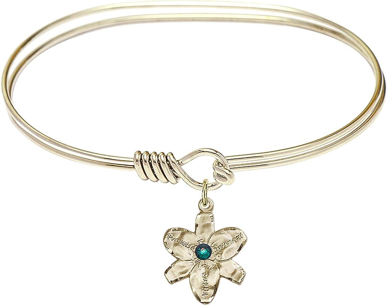 DiamondJewelryNY Eye Hook Bangle Bracelet with a Chastity Charm.