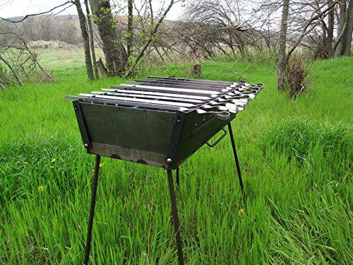 Rushnichok Brazier case Schaschlik Grill Mangal Höhenverstellbar BBQ MEGA ШАШЛЫК 10 Skewer