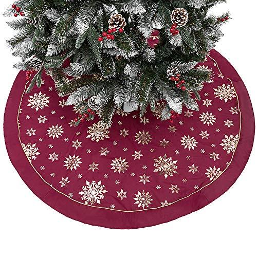 papasgix Baumdecke Weihnachtsbaum Rock Christbaumdecke Rund Weihnachtsbaumdecke Christbaumständer Teppich Decke Weihnachtsbaum Deko DREI Schichten Baumwoll