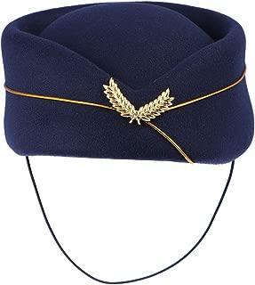 BESTOYARD Women Air Stewardess Hat Woolen Flight Attendant Hat Stewardess Cap for Costume Cosplay Musical Performance - Size M(Navy Blue)