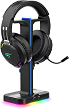 Havit Gaming Headphone Stand & Wired Gaming Headset Desk Dual Headset Hanger Base with Phone Holder & 2 USB Charger for Du...