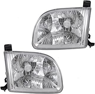 Headlights Headlamps Driver and Passenger Replacements for 2000-2004 Toyota Tundra Regular Access Cab Pickup Truck 811500C010 811100C010