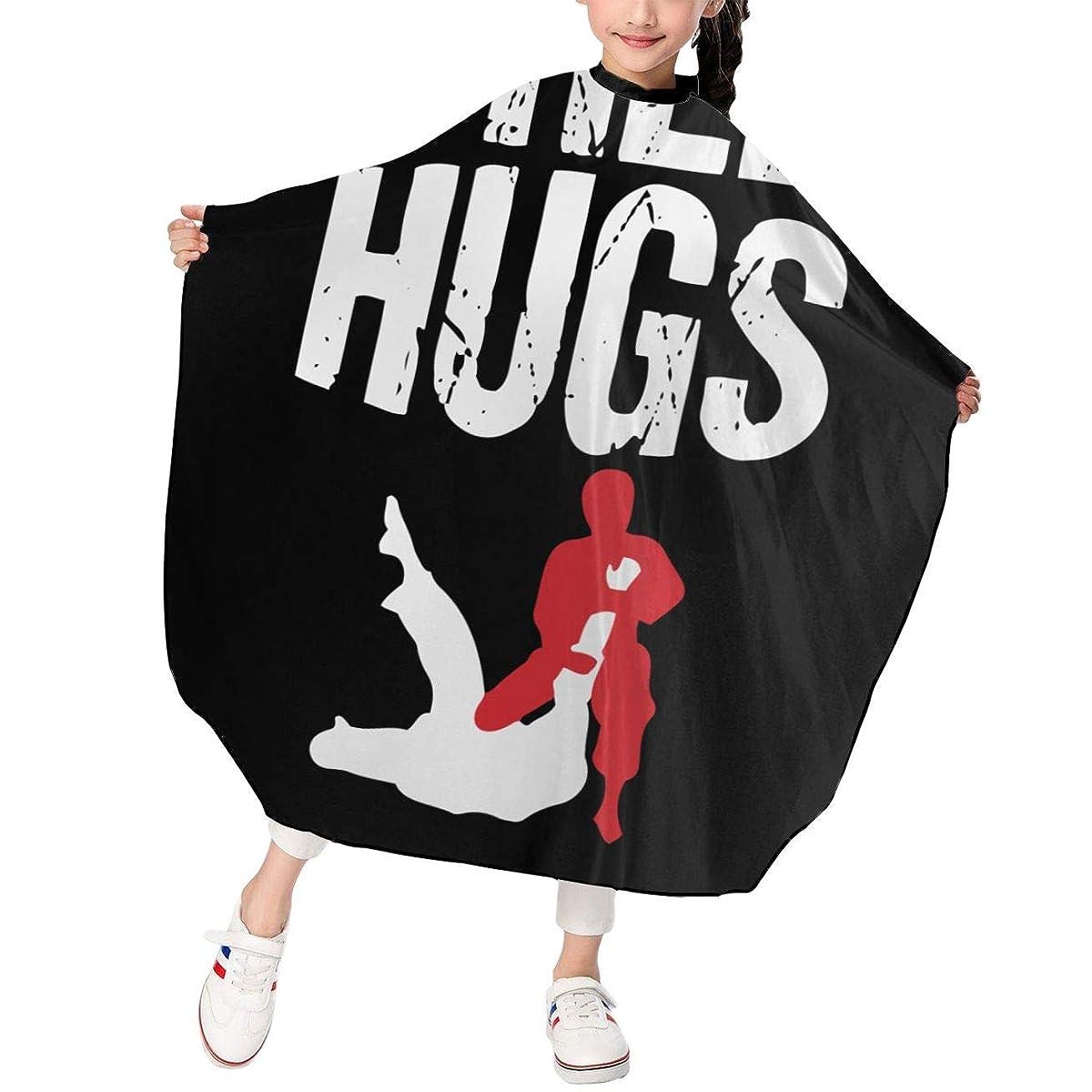 赤外線顎観光に行くCute Free Hugs Jiu Jitsu BJJ Martial Arts 子供エプロン ヘアーエプロン 散髪 ケープ 美容エプロン 静電気防止 ヘアカット ファミリー理髪 防水 自宅カット 120*100cm