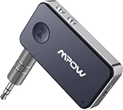 Mpow Bluetooth 5.0 Receiver 3.5mm Aux Bluetooth Audio Adapter with 3D Surround Stereo Mode for Car/Home Audio System, Hi-Fi Music, CVC 8.0 Noise Cancellation, Dual Pairing, Built-in Mic