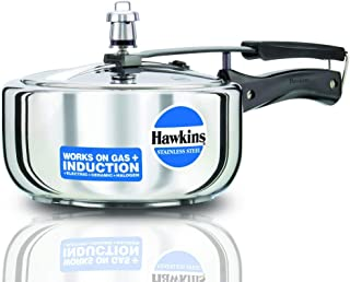 Hawkins Stainless Steel Induction Compatible Pressure Cooker, 3 Litre, Silver (HSS3W) Wide