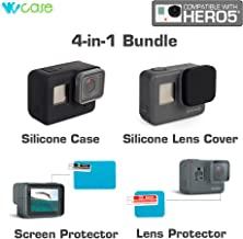 WoCase Camera Silicone Case + Silicone Lens Cover + Len and LCS Screen Protector (4 Items Set) For GoPro HERO5 Full Body and Lens Protection