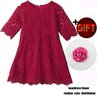 ffc5a812473 KISSOURBABY Girls Lace Flower Dress Casual Crew Neck Floral A-Line Party  Dress