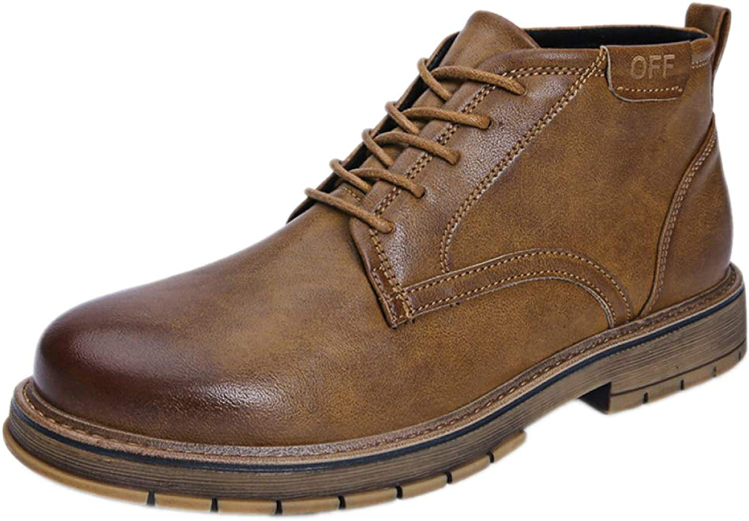 Snfgoij Work shoes Men Sneakers Waterproof Resistant Casual Autumn and Winter High shoes Retro Martin Boots Fashion Short Boots,Brown-43