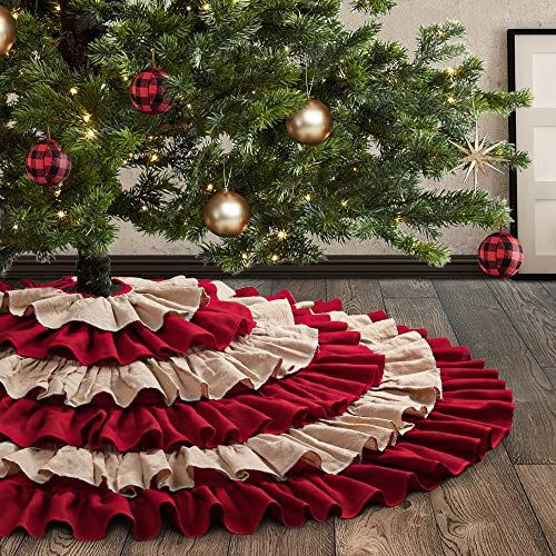 Meriwoods Ruffled Burlap Christmas Tree Skirt 48 Inch, Large Natural Linen Tree Collar, Country Rustic Indoor Xmas Decorations, Burgundy Red & Brown