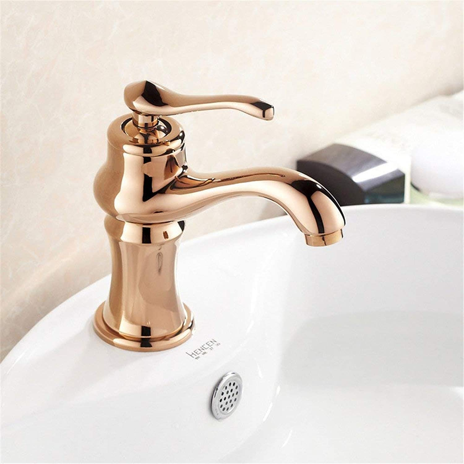 Oudan European Basin Faucet Hot and Cold Faucet Washbasin Bathroom Cabinet gold Faucet pink gold (color   -, Size   -)