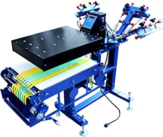 TECHTONGDA 3 Color 1 Station Silk Screen Printing Press Micro-Registration Screen Printing Machine for Fabric Ribbons with Flash Dryer