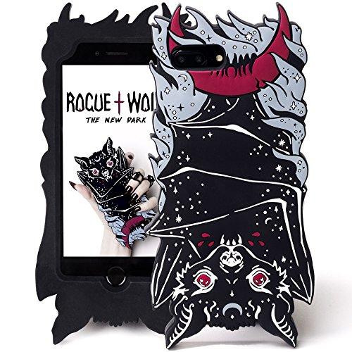 Rogue + Wolf Carino 3D Vamp Bat Cover per Cellulare Compatibile con iPhone 6+ 6s+ 7+ 8+ Plus Kawaii Custodia Protettiva in Silicone