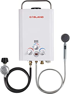 Tankless Water Heater, Gasland BE158 1.58GPM 6L Outdoor Portable Gas Water Heater, Instant Propane Water Heater, Overheating Protection, Easy to Install, Use for RV Cabin Barn Camping Boat, White