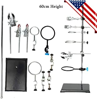60CM Laboratory Support Stands Flask Clamp Condenser Pipe Holder, Iron Chemistry Lab Flask Support Research Starter Kit + 9 Clips, USA Stock
