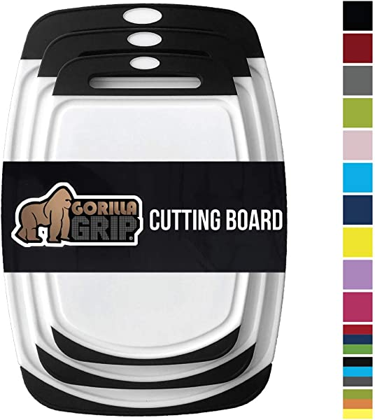 Gorilla Grip Original Reversible Cutting Board 3 Piece BPA Free Dishwasher Safe Juice Grooves Larger Thicker Boards Easy Grip Handle Non Porous Extra Large Kitchen Set Of Three Black
